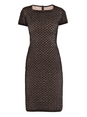 Edelweiss Dress - style: shift; neckline: high square neck; fit: tailored/fitted; predominant colour: black; occasions: evening; length: just above the knee; fibres: wool - mix; material texture: lace; sleeve length: short sleeve; sleeve style: standard; texture group: lace