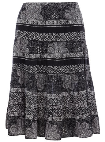 Tile Print Midi Skirt - pattern: heavily patterned, patterned/print; fit: body skimming; waist: mid/regular rise; predominant colour: charcoal; occasions: casual; length: on the knee; style: a-line; fibres: cotton - 100%; pattern type: fabric; pattern size: big & busy