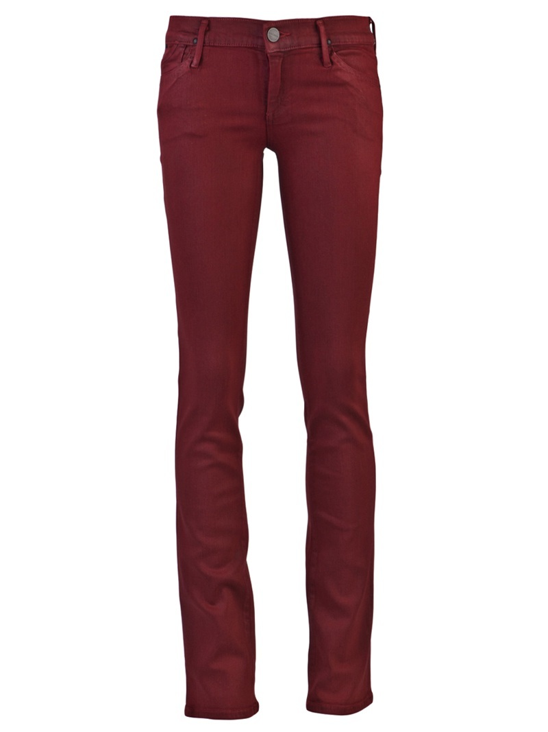 Misfit Skinny Jean - style: skinny leg; length: standard; pattern: plain; pocket detail: traditional 5 pocket; waist: mid/regular rise; predominant colour: true red; occasions: casual; trends: red; fibres: polyester/polyamide - stretch; pattern type: fabric; pattern size: standard