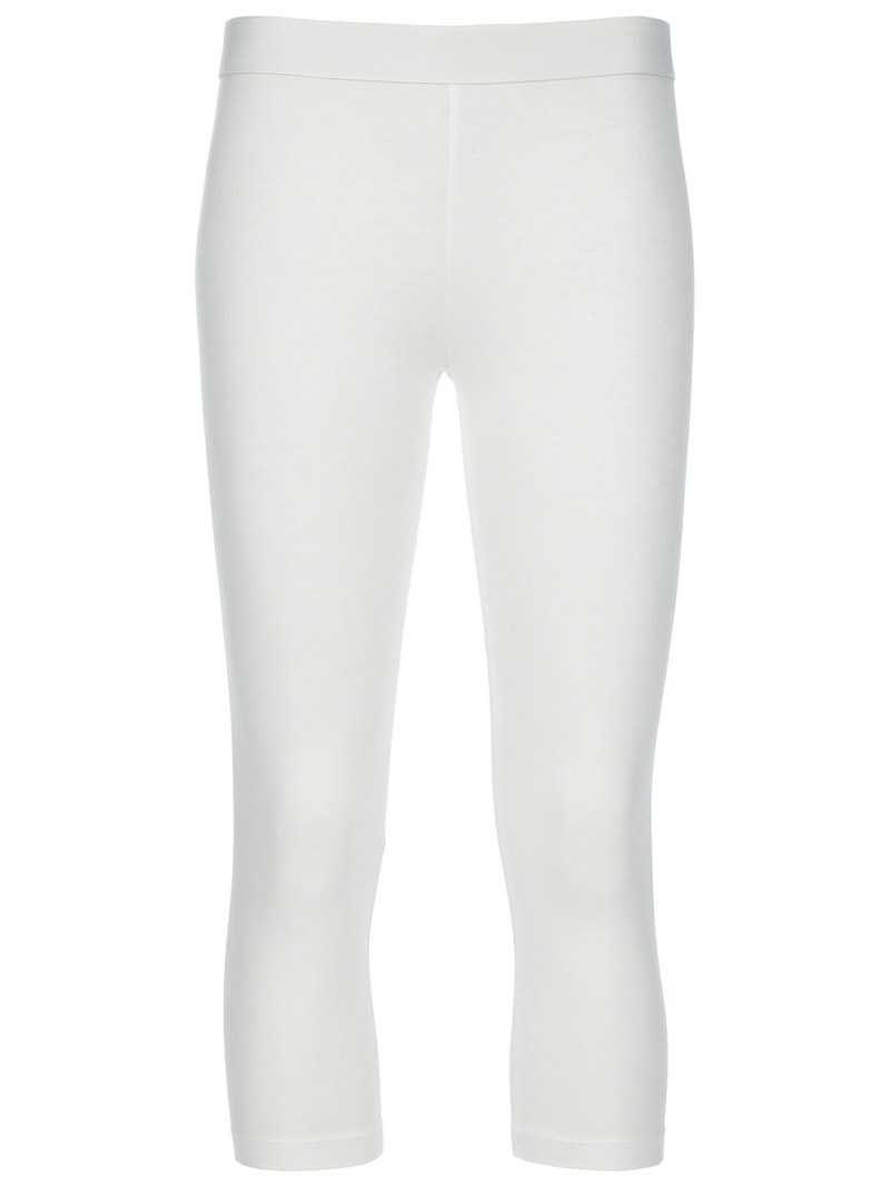 Cropped Legging - style: leggings; waist: high rise; predominant colour: white; occasions: casual; length: calf length; fibres: polyester/polyamide - stretch; fit: skinny/tight leg