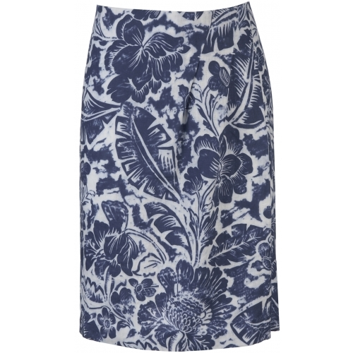 Linen Print Skirt   Dark Denim Combo / - pattern: floral - busy, florals; style: straight; fit: tailored/fitted; hip detail: side pockets at hip, front pockets at hip; waist: mid/regular rise; predominant colour: denim; occasions: casual, work; length: just above the knee; trends: prints; fibres: polyester/polyamide - 100%; material texture: denim; texture group: denim; pattern type: fabric; pattern size: small & busy
