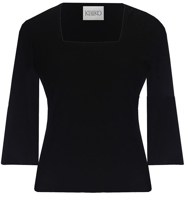 Women's Black 3/4 Sleeve Square Neck Top, Black - neckline: high square neck; pattern: plain; waist detail: fitted waist; predominant colour: black; occasions: casual, work; length: standard; style: top; fibres: polyester/polyamide - stretch; material texture: jersey; fit: tailored/fitted; sleeve length: 3/4 length; sleeve style: standard; pattern type: fabric; pattern size: standard; texture group: jersey - stretchy/drapey